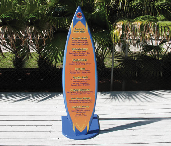 Point Of Purchase Signage Drink Menu Board Surfboard